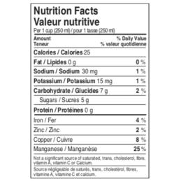 valeurs nutritionnelle de l'eau d'érable Maple 3
