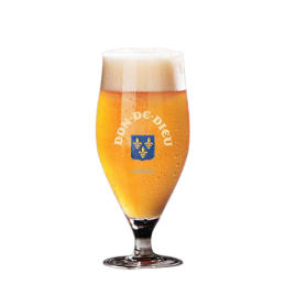 verre  avec logo unibroue don de dieu du quebec