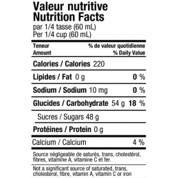 Valeur nutritive sirop d'érable du canada