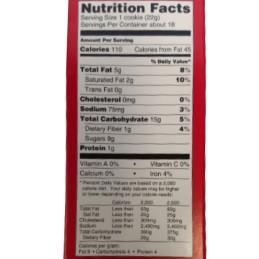 Informazioni nutrizionali biscotti al cioccolato foglia d'acero
