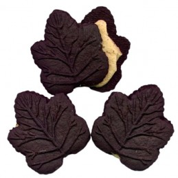 3 chocoladekoekjes van esdoornblad