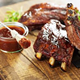 Varkensvlees met barbecuesaus van esdoorn