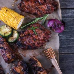 Vlees met barbecuesaus van esdoorn