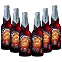 6 bouteilles de bière maudite d'unibroue canada
