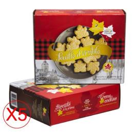 Scatola di biscotti foglia d'acero con crema in confezione da 5