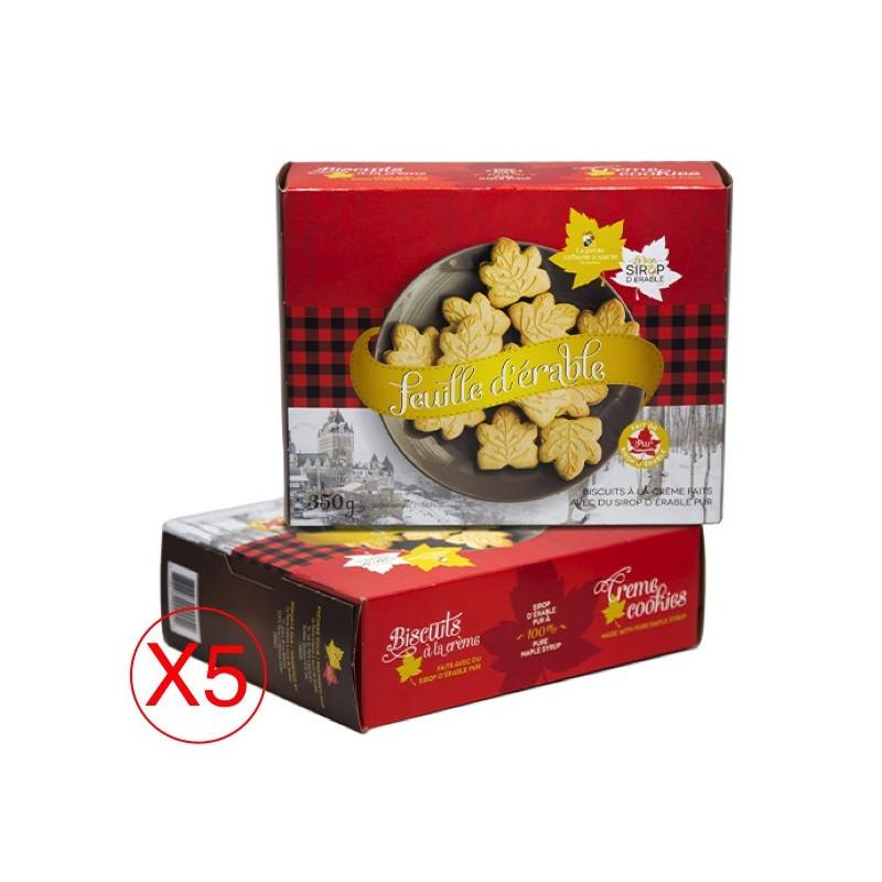 Boite de biscuit feuille d'érable à la crème en pack de 5