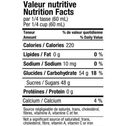valeur nutritive du sirop d'érable  doré en conserve