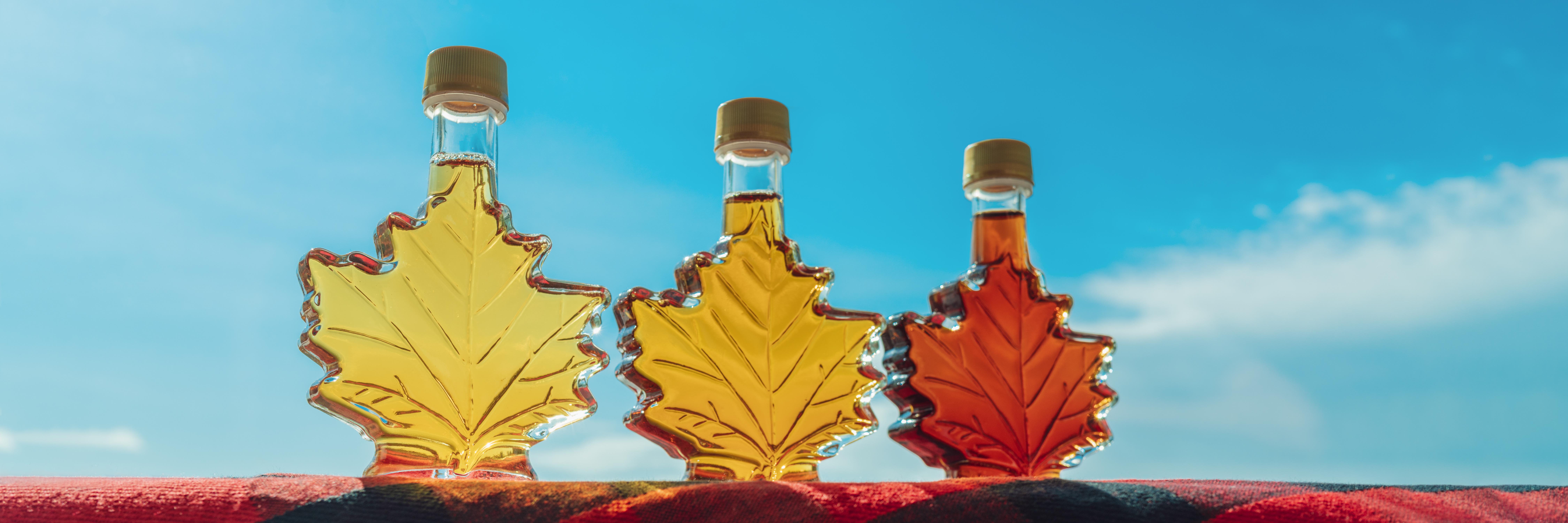 3 bouteilles feuilles de sirop d'érable